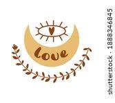 boho moon love eye. bohemian...   Shutterstock . vector #1888346845
