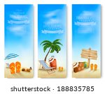 three summer vacation banners.... | Shutterstock .eps vector #188835785