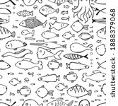 hand drawn doodle fishes...   Shutterstock .eps vector #1888379068