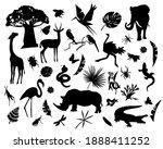 silhouette of various wild... | Shutterstock .eps vector #1888411252