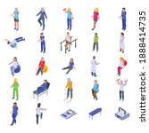 physical therapist icons set....   Shutterstock .eps vector #1888414735