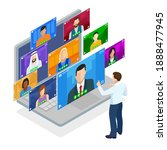 isometric video conference.... | Shutterstock .eps vector #1888477945