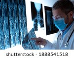 Radiologist doctor with face...