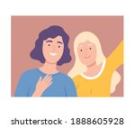 old mother with adult daughter... | Shutterstock .eps vector #1888605928