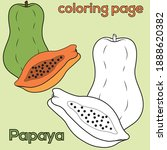 papaya coloring page for kids ... | Shutterstock .eps vector #1888620382