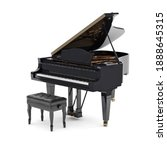 Small photo of Beautiful grand piano isolated on white background