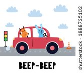beep beep print with cute... | Shutterstock .eps vector #1888735102