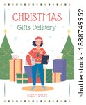 christmas gifts delivery poster ... | Shutterstock .eps vector #1888749952