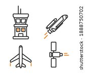 space icons in linear style.... | Shutterstock . vector #1888750702