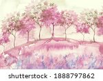 Watercolor Postcard With Wild...