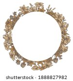 lily flowers. round frame.... | Shutterstock . vector #1888827982