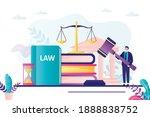 lawyer holds wooden gavel.... | Shutterstock .eps vector #1888838752