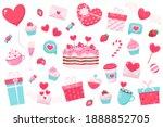 happy valentine's day elements. ... | Shutterstock .eps vector #1888852705