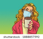 woman in stylish medical face... | Shutterstock .eps vector #1888857592