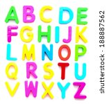 colorful alphabet with shadow... | Shutterstock . vector #188887562