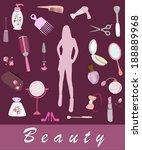 female cosmetic  beauty items   Shutterstock .eps vector #188889968