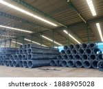 Small photo of Coil wires rod in the factory, a lot of wires rod in industrial wire. Wires rod in warehouse of factory