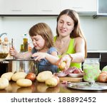 happy mother with child cooking ... | Shutterstock . vector #188892452