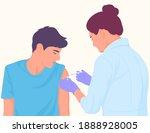 doctor injecting vaccine to... | Shutterstock .eps vector #1888928005