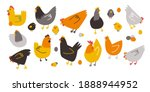 vector colored hens  chickens... | Shutterstock .eps vector #1888944952