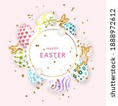 easter poster with colourful...   Shutterstock .eps vector #1888972612