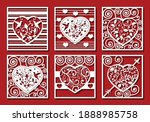 hearts on red background for...   Shutterstock .eps vector #1888985758