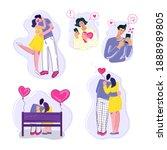 couples in love set. flat... | Shutterstock .eps vector #1888989805