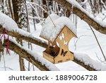 Carved Wooden Bird Feeder  With ...