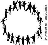 children silhouettes  | Shutterstock .eps vector #188902886