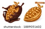 golden cocoa fruit and... | Shutterstock .eps vector #1889051602