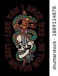 snake around skull and dagger... | Shutterstock .eps vector #1889114878