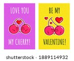 cute couple cherry cartoon with ... | Shutterstock .eps vector #1889114932