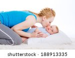 happy mother and child. mother... | Shutterstock . vector #188913335