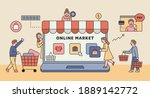 online shop concept. there is... | Shutterstock .eps vector #1889142772