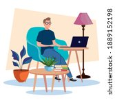 young male freelancer worker... | Shutterstock .eps vector #1889152198