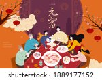 asian family sitting around... | Shutterstock .eps vector #1889177152