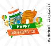 india gate monument with indian ... | Shutterstock .eps vector #1889213785