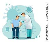 doctor giving patient vaccine ... | Shutterstock .eps vector #1889215078