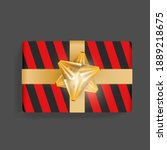 black gift box with red stripes....