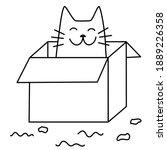 a cat in a box. a cute... | Shutterstock .eps vector #1889226358