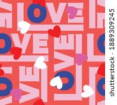 colorful love typography with... | Shutterstock .eps vector #1889309245