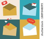 envelope with a heart  online... | Shutterstock .eps vector #1889348095