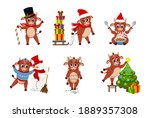 cute ox. color bulls chinese... | Shutterstock .eps vector #1889357308