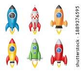 rocket launch  space ship. 3d... | Shutterstock .eps vector #1889376595