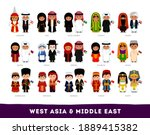 asians in national clothes.... | Shutterstock .eps vector #1889415382