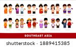 asians in national clothes.... | Shutterstock .eps vector #1889415385