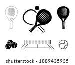 Padel Tennis Icon Set In Black...