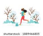 black woman jogging in the park.... | Shutterstock .eps vector #1889466805