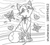 cat coloring page. cute kitty...   Shutterstock .eps vector #1889554012