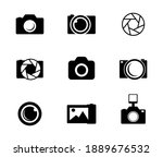 photo and camera icon set....